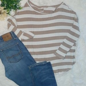 Easel oversized tan/white stripped sweater